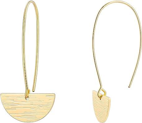 Long geometric gold earrings