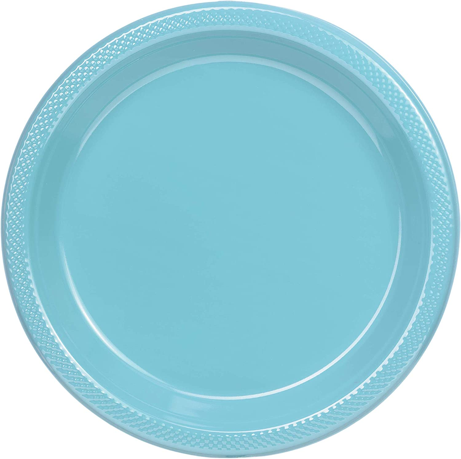 Exquisite 7 Inch. Light Blue Plastic Dessert/Salad Plates - Solid Color Disposable Plates - 50 Count