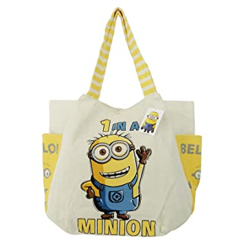 Minions Go Banana Canvas Beach Bag With Round Bottom Handbag Top ...