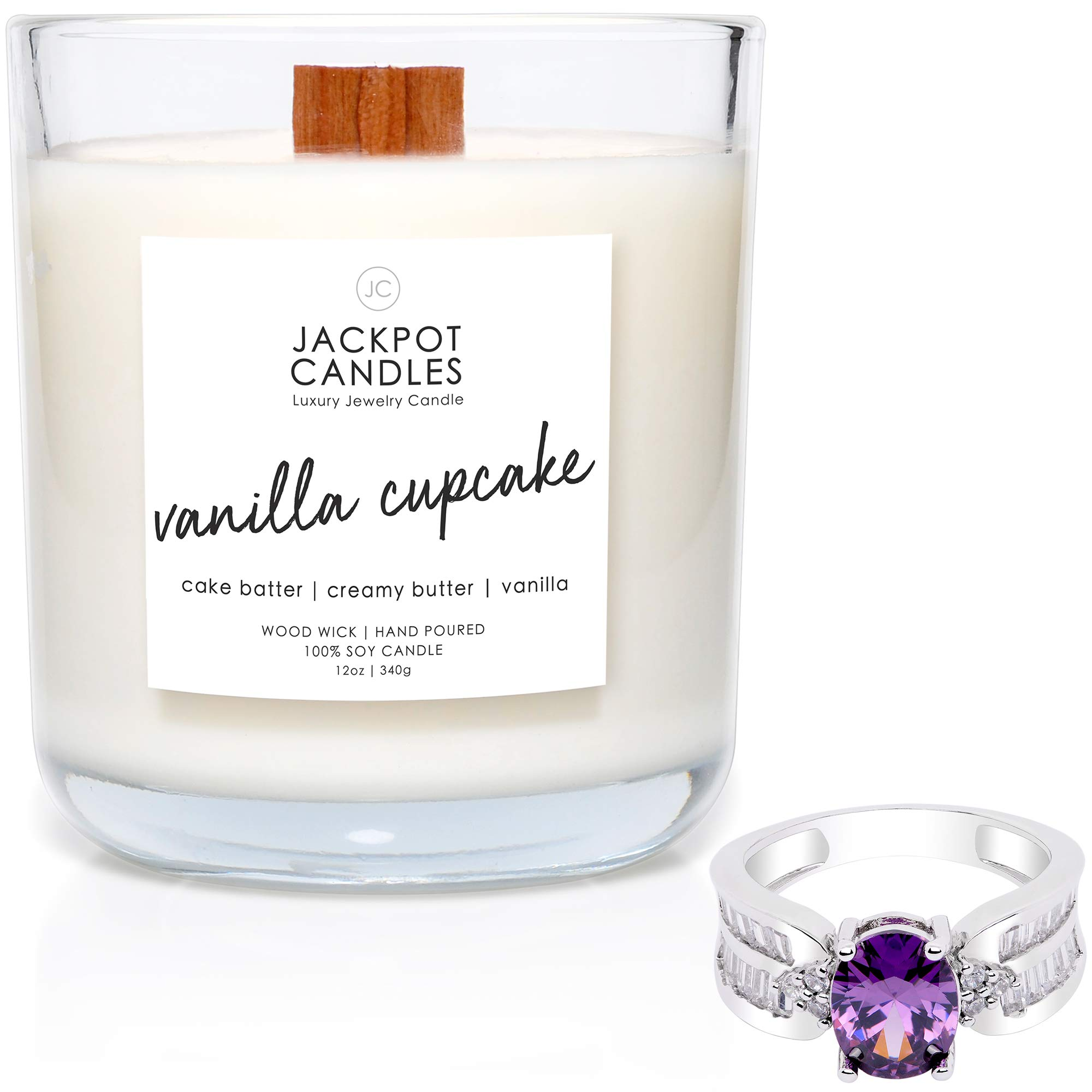 Jackpot Candles Vanilla Cupcake Candle with Ring Inside (Surprise Jewelry Valued at $15 to $5,000) Surprise Ring Size by Jackpot Candles