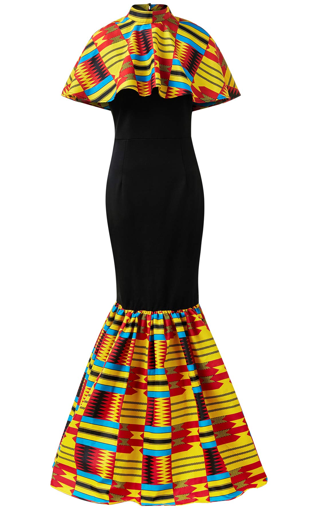 HongyuAmy Women African Print Dresses Kente Print Dresses (Large, Color A)