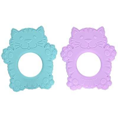 Sugarbooger Silicone Teether Set-of-Two, Fluffy Cat : Baby