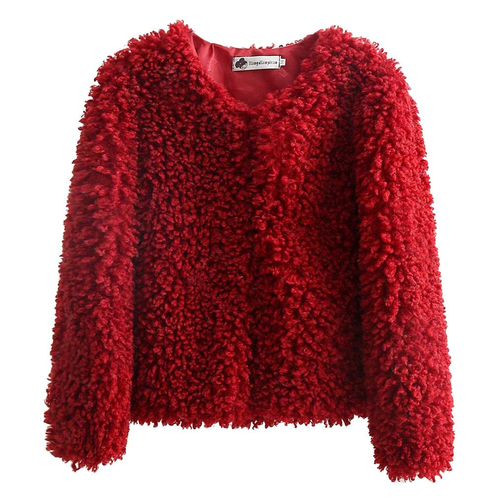 SNOWSONG Womens Soft Wool Jacket Coat Winter Warm Fleece Fuzzy Cropped Sweater Outerwear Red by SNOWSONG