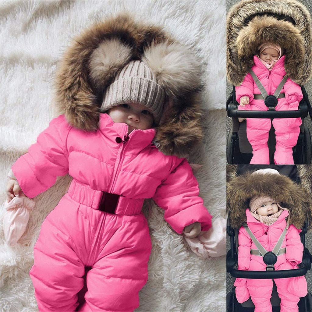 Easong Baby Boys Girls Snowsuit Quilted Pramsuit Faux Fur Hooded Romper Winter Jumpsuit Zipper Front Pram Coat Cotton Outfits Footless Jumpsuit Sleepsuits