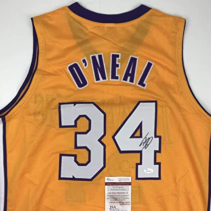 c4a25c27f13 Autographed Signed Shaquille Shaq O Neal Los Angeles LA Yellow Basketball  Jersey JSA COA