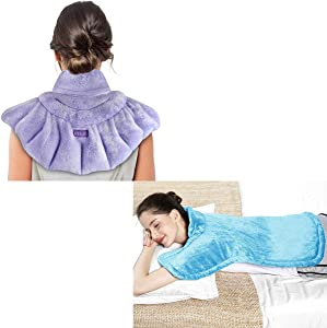 REVIX Extra Large Microwavable Heated Wrap for Neck and Electric XXL Back Heating Pad for Neck and Shoulders Bundle