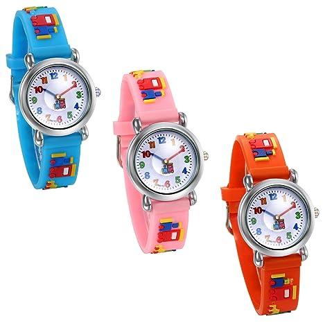 Amazon.com: JewelryWe Pack of 3 Kids Watches Cute Design Rubber Band Easy Reader Quartz Wristwatch (Orange/Blue/Pink): Watches
