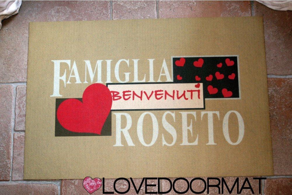75x50 ASCIUGA SPORCO LOVEDOORMAT /® HANDMADE IN ITALY TAPPETO PERSONALIZZATO FAMIGLIA NOMI CUORI FELTROGOMMA CM