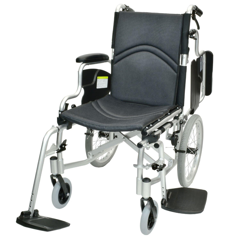 ケアテックジャパン 介助式 アルミ製 車椅子 CAH-20SU コンフォート-介助式- (ダークグレー(メッシュ)) B06XWSB3J4