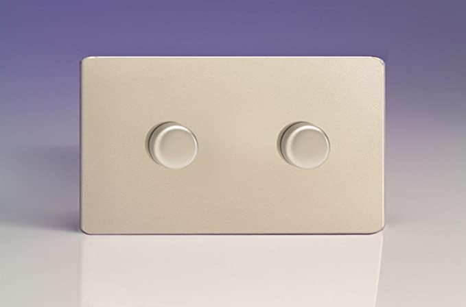 Brushed Steel Varilight Screwless 2-Gang 2-Way Push-On//Off Rotary LED Dimmer