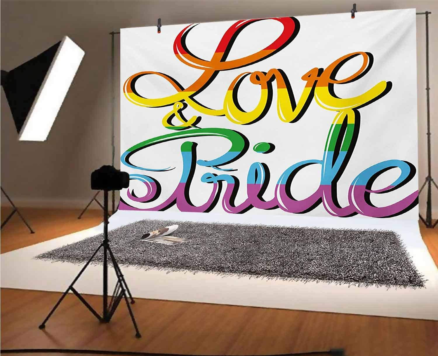 Pride 15x10 FT Vinyl Photo Backdrops,Love and Pride Text Design Stylized Lettering Calligraphy Rainbow Colors Valentines Background for Child Baby Shower Photo Studio Prop Photobooth Photoshoot