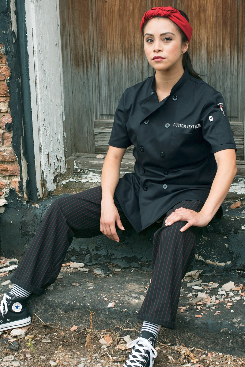 Uncommon Threads Women's Tahoe Fit Chef Coat with Custom Text, Black, X-Large by KAMAL OHAVA (Image #3)