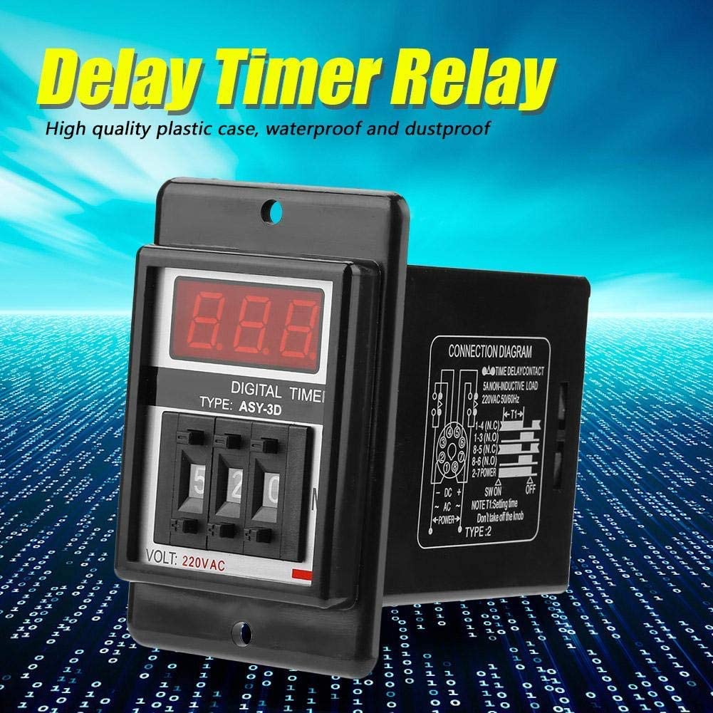 KONGZIR Digital Timer Relay Board,AC 220V Delay On Timer Relay Digital Display Time Relay 0-199 Minutes 8 Pins ASY-3D