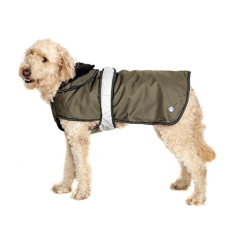 Khaki Danish Design 2-in-1 Light Reflective Dog Coat 26-inch