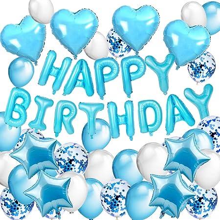Globos decoracion fiesta azul niño, DAYPICKER decoracion de fiesta rosa con Feliz Cumpleaños globos, 30 Globos Rosa Fucsia Blanco,10 Globus de ...