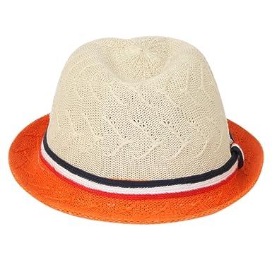 16d7775eac1 ILU Girl s Straw Fedora Sun Hat White and Orange  Amazon.in ...