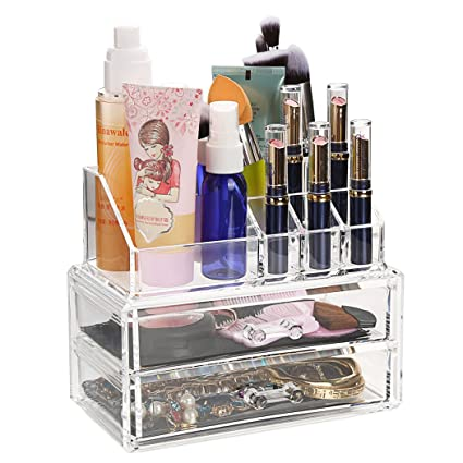 Amazoncom Flagup Clear Acrylic Cosmetic Makeup Organizer with 2