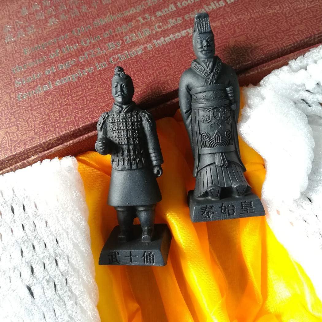 Resina guerreros terracota Set de 2 caja de regalo China Qin dynasty guerreros de terracota Escultura resina Escultura Decoraci/ón Bonsai mesa pantalla caja de regalo,