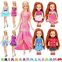 Barwa 5 Randomly Clothes Dresses + 2 PCS Shoes for Kelly Dolls + 10 Dresses + 10 PCS Shoes for Barbie Dolls