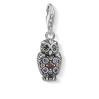 65f5477d7d4 Thomas Sabo Women s 925 Sterling Silver Charm Sparkling Owl Club Pendant  1479-643-7  Amazon.co.uk  Jewellery