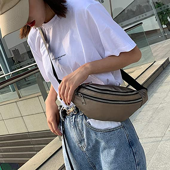 DDKK bags,Unisex Fashion Double Zipper Waist Pack Leather Shoulder Bags Crossbody Bag Chest Bags
