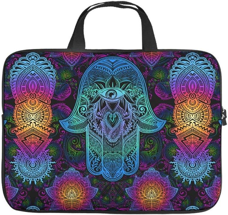 Mandala Flower Hamsa Hand Laptop Bag Funny Prints Laptop Carrying Case Durable Neoprene Fabric Tablet Sleeve for Teen Students White 17inch
