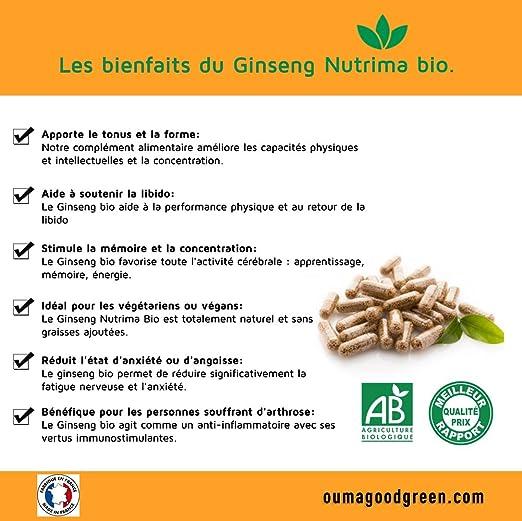 Nutrima Bio - Raíces de Ginseng Bio 60 cápsulas de Nutrima Bio- 300 MG - Forma-energía-vitalidad: Amazon.es: Salud y cuidado personal