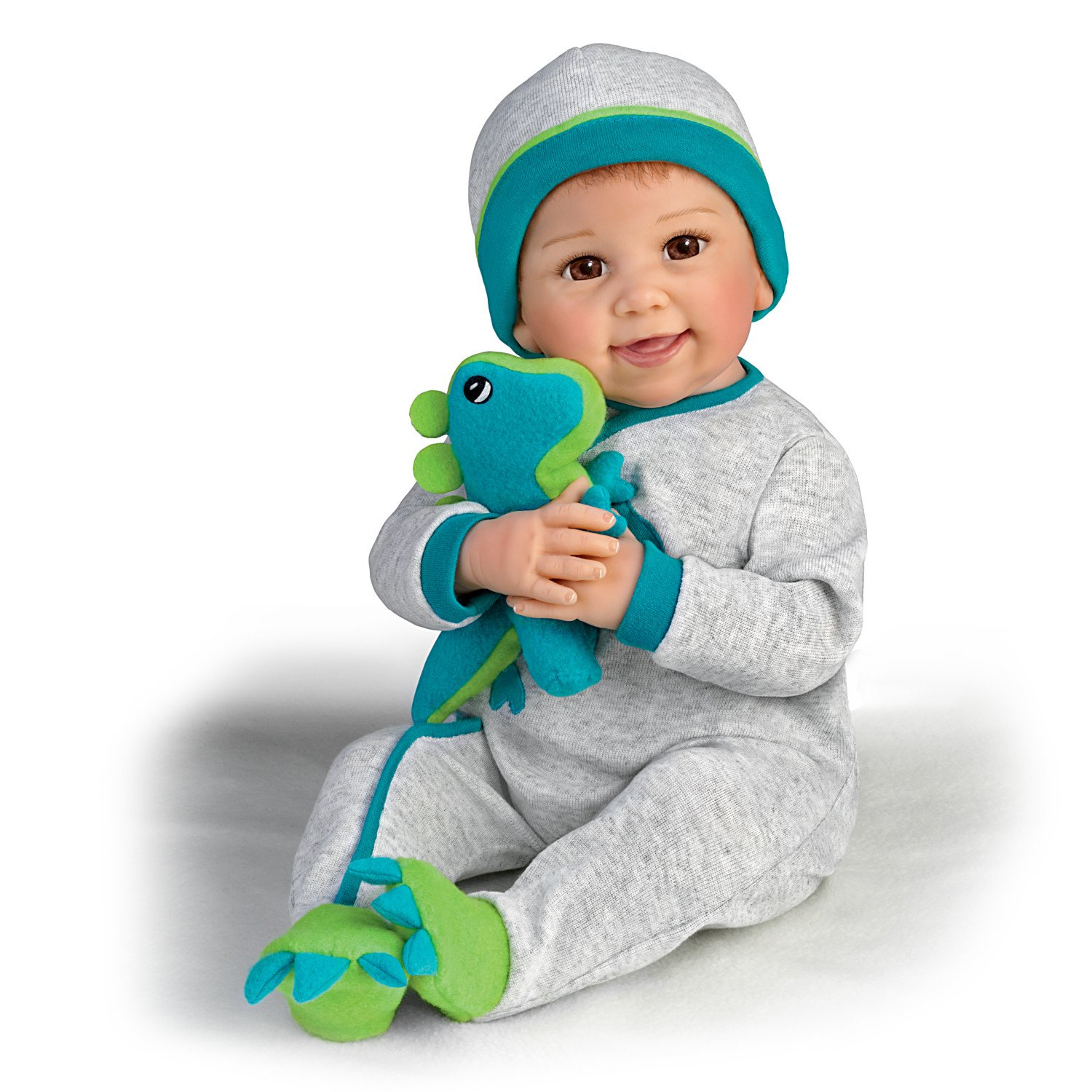 Linda Murray So Truly Real Poseable Baby Doll With Plush Dinosaur by The Ashton-Drake Galleries 03-02606-001