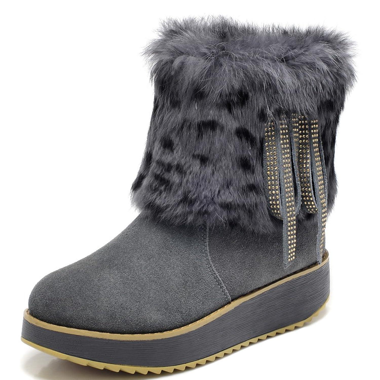 MILANAO Women's Frosted Warm Fur Tassel Short Snow Boots