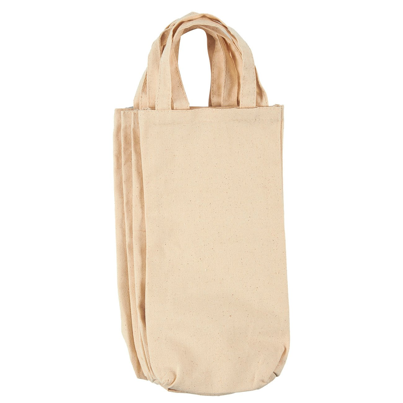 Wine Tote Bags - 4-Pack Wine Carrying Bag Set, Ideal Bottle Gift Bags, Cotton Canvas Travel Storage Bags, Picnic Wine Accessories, Off-White - 6.5 x 13 x 2.7 inches
