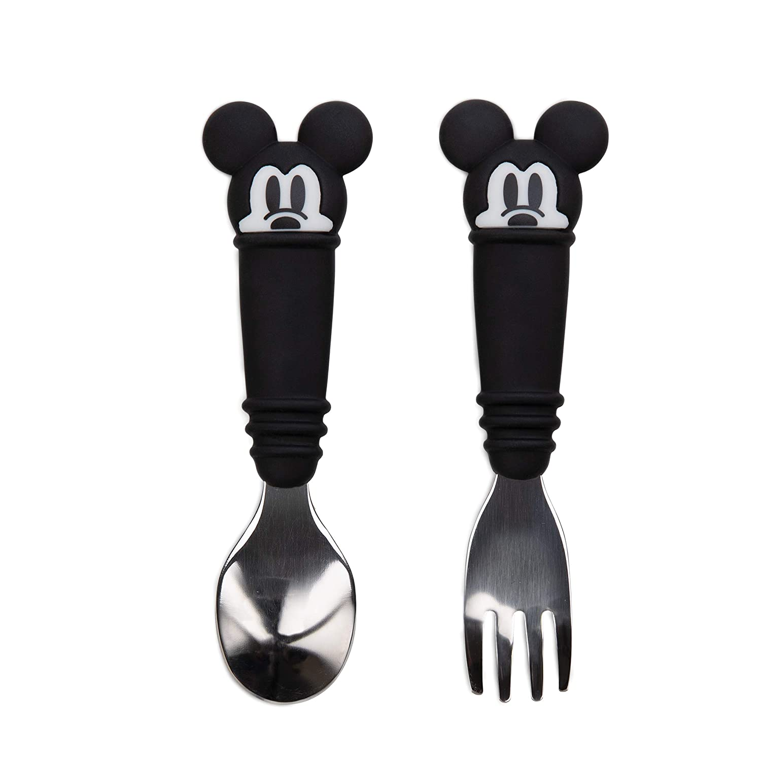Bumkins Utensils, Disney Silicone and Stainless Steel Baby Fork and Spoon Set, Toddler Silverware, Self Feeding – Mickey Mouse