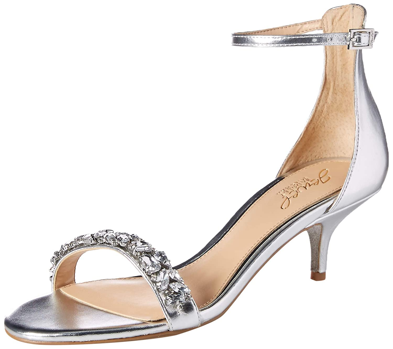 Silver Badgley Mischka Womens Dash Heeled Sandal