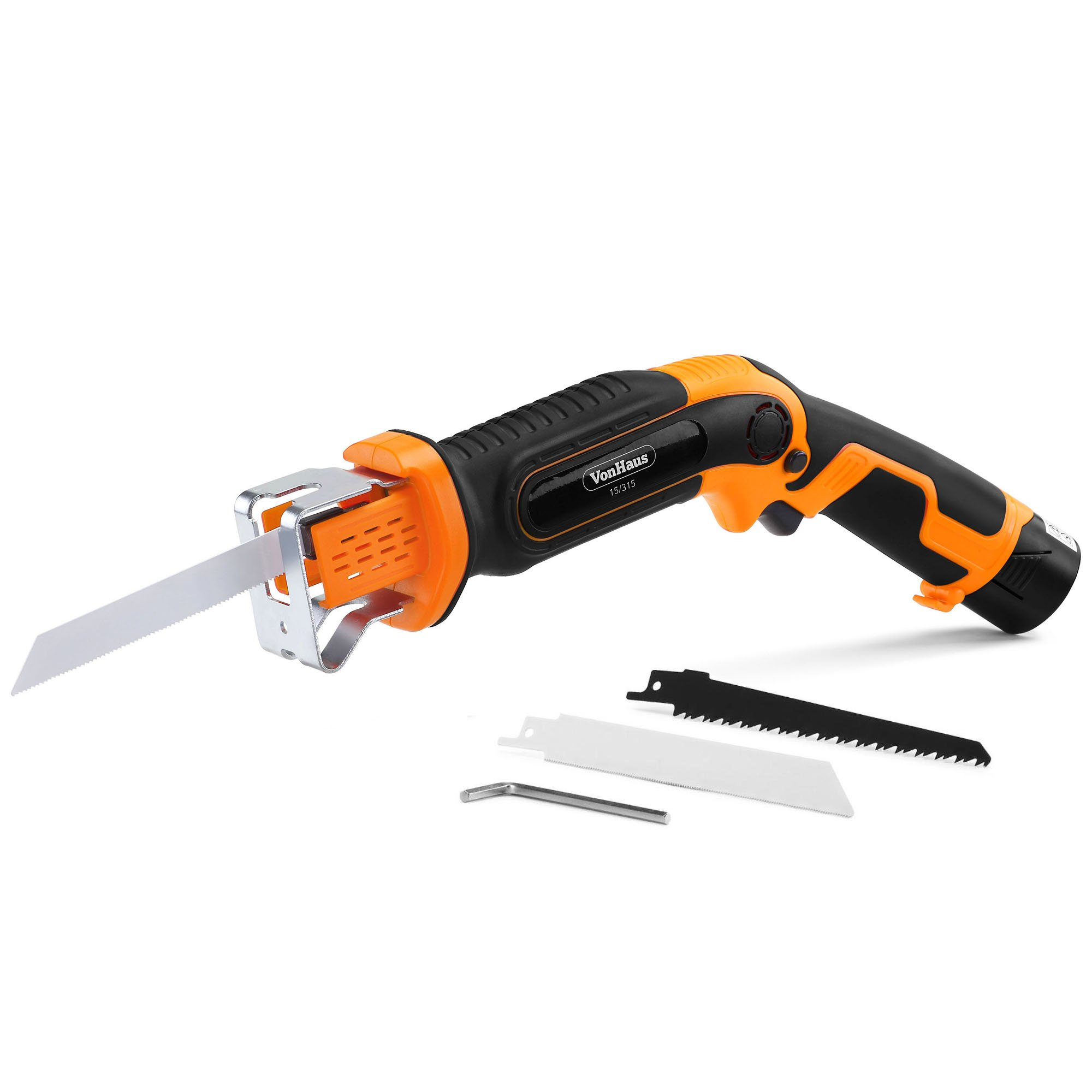 VonHaus 10.8V Electric Cordless Compact Garden Outdoor Pruning Saw 1/2 Cutting Length - Cut Through Branches, Wood, Plasterboard & Soft Metals - Includes 3 Spare Interchangeable Blades