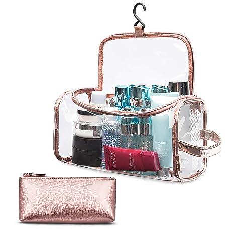 3579229b71 Srotek Trousse de Maquillage Transparent Trousse de Toilette en PVC et Cuir  pour Femmes Fille Ado