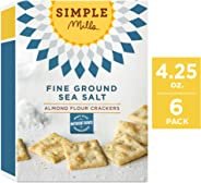 Simple Mills Almond Flour Crackers, Fine Ground Sea Salt, 4.25 Ounce (Pack of 6)