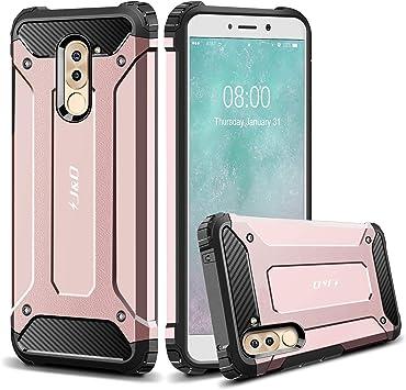 Coque Honor 6X, J&D [ArmorBox] [Double Couche] Coque de Protection Robuste Antichoc et Hybride pour Huawei Honor 6X - Rose Or