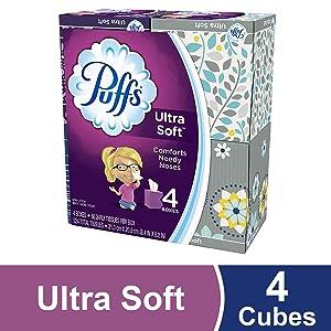 Puffs Ultra Soft Facial Tissues, 4 Cubes, 56 Tissues per Cube, Prime Pantry