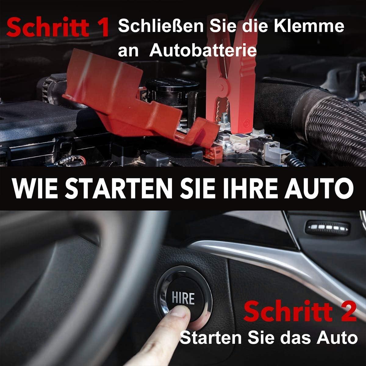 BuTure Starthilfe Powerbank,2500A 23800mAh 88.06Wh Auto Starthilfe mit 10W Wireless Charger,f/ür bis zu Alle-Benzin und 8-Liter-Dieselmotoren