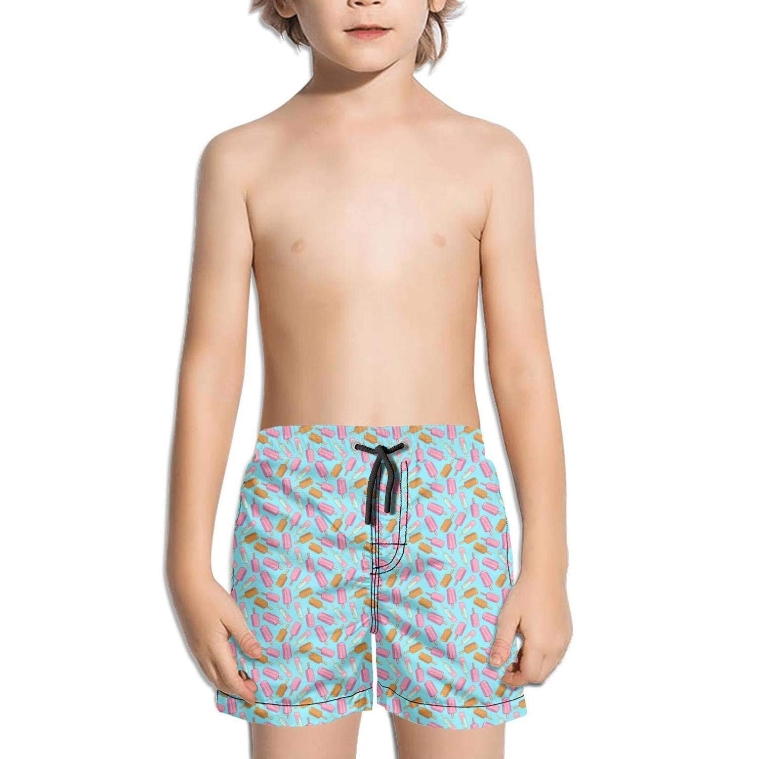 Ina Fers.Quick Dry Swim Trunks Love Pink Ice Cream Print Blue Shorts for Boys