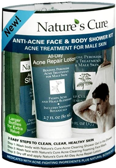Natures Cure Anti-Acne Face and Body Shower Kit for Male Skin Apivita - Express Beauty Revitalizing & Radiance Mask with Pomegranate -6x(2x8ml)