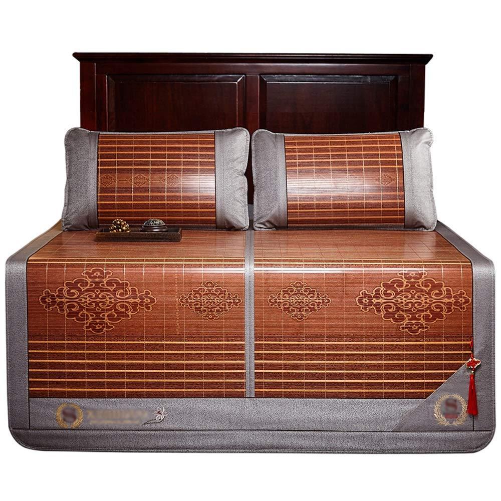 YONG FEI Bamboo Cool Matratze - Haushaltsfaltbare Bambusmatte auf beiden Seiten, mit ZWeißRattan-Kissenbezügen - Größe  150X195cm, 180X200cm Sommer-Schlafmatte (größe   180X200cm)  150X195cm