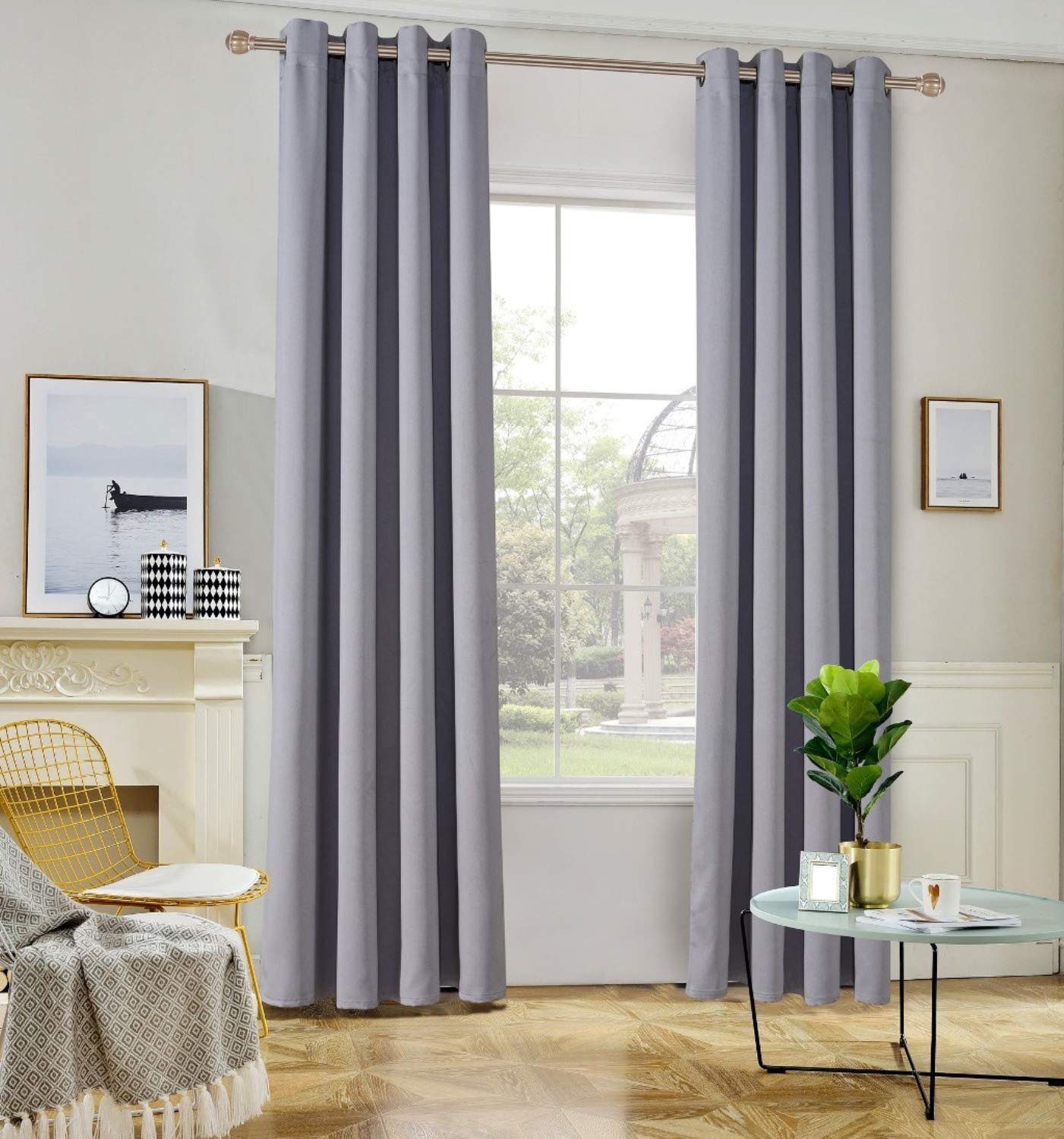 TEMNETU Bedroom Curtains, Blackout Thermal Insulated Window Curtain Panels for Living Room,2 Panels (Beige, W42x63L) KaiLan curtains Co. Ltd.