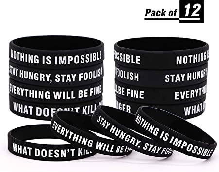 Exceed Your Own Expectations Motivational Silicone Wristbands GOMOYO Nothing is Impossible Bulk Options for Teams Available Eight Colors of Inspirational Rubber Bracelets