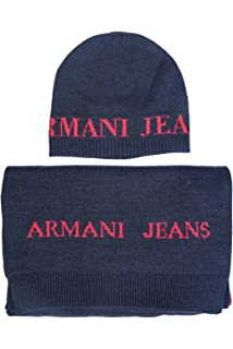 d9d9480feb33 ARMANI JEANS AJ NEU HERREN Mütze mit Schal blau schwarz grau men ...