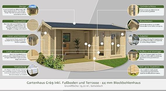 Gartenhaus G169 Inkl Fussboden Und Terrasse 44 Mm Blockbohlenhaus