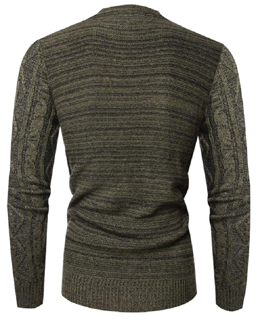 Generic Mens Leisure Solid Warm Slim Knitting Round Neck Pullover Sweaters