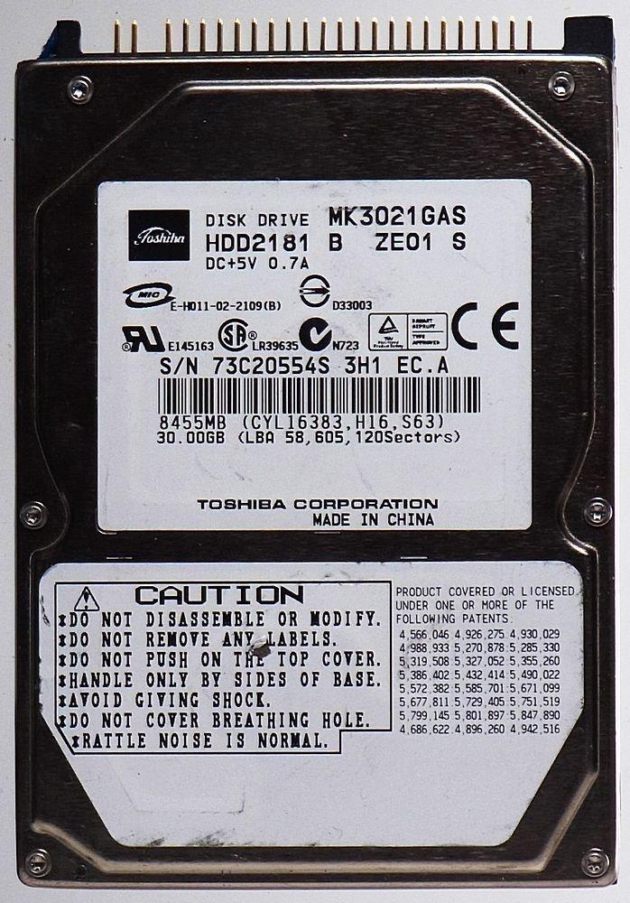 30 GB HDD ordenador portatil TOSHIBA mk3021 Gas hdd2181de id11360: Amazon.es: Electrónica