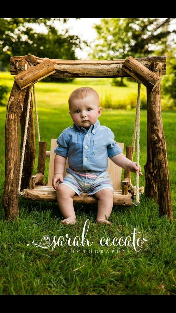 The ORIGINAL NEW Rustic Baby Photography Swing, Wooden Photo Prop Swing, Photography Prop