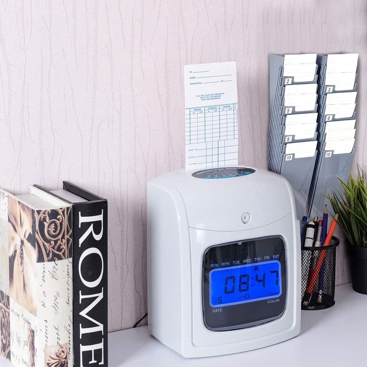 Goplus Electronic Time Attendance Clock, Employee Time Recorder, Punch Clock Machine Includes 200 Cards and 2 Time Cards Racks