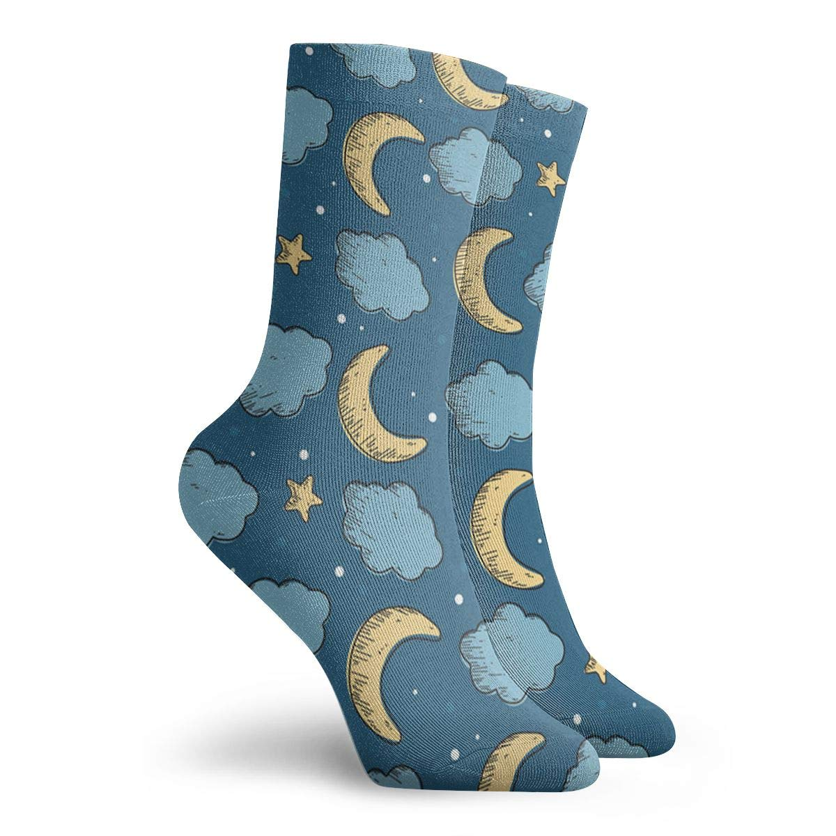 Moon-Star Unisex Funny Casual Crew Socks Athletic Socks For Boys Girls Kids Teenagers